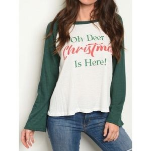 """""""Oh Deer Christmas is Here"""" Graphic Waffle Top"""